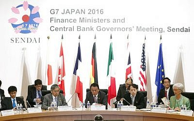 Japanese Finance Minister Taro Aso, center, speaks during a meeting of finance ministers and heads of central banks of the Group of Seven in in Sendai, northern Japan, on May 20, 2016. (Yohei Kanezashi/Kyodo News via AP)