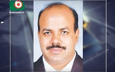 Aslam Chowdhury, a Bangladeshi business tycoon and senior opposition official, was charged with sedition on May 26, 2016 after meeting an Israeli government adviser in India in March. (Screenshot/Boishakhi Tv)