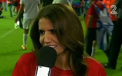 Alona Barkat, owner of the Hapoel Beersheba soccer club, Saturday, May 21, 2016. (Channel 2 screenshot)