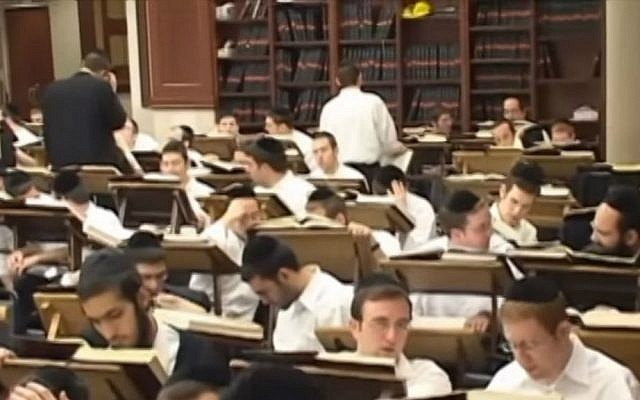 Students at the Beth Medrash Govoha yeshiva in Lakewood, New Jersey. (YouTube screenshot)