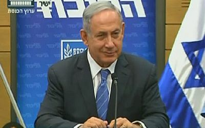 Prime Minister Benjamin Netanyahu speaks to reporters at a meeting of his Likud faction at the Knesset on May 23, 2016 (screen capture: Knesset Channel)