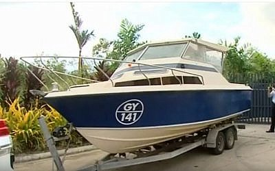 Australian police say boat seized by authorities on May 11, 2016 was to be used by jihadist suspects to sail to Indonesia en route to join terrorist groups in Syria. (screen capture: YouTube)