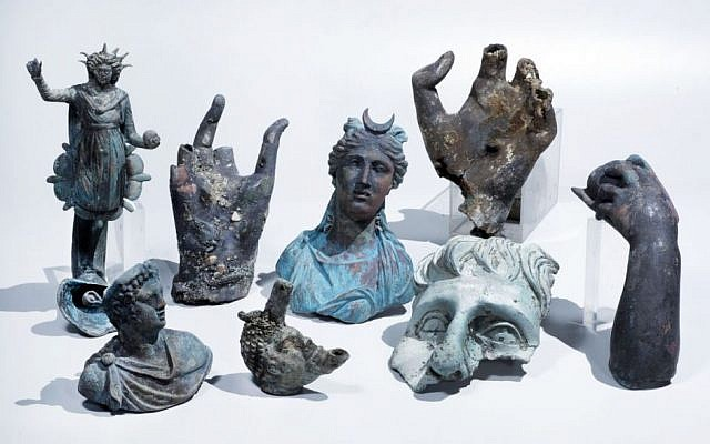 Rare bronze artifacts discovered in at the site of the ancient sea port in Caesarea, Israel, April 2016. (Clara Amit, courtesy of the Israel Antiquities Authority)