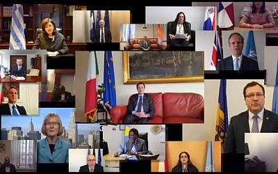 Ambassadors to the United Nations from several countries wish Israel a happy 68th Independence Day. (YouTube/IsraelinUN)