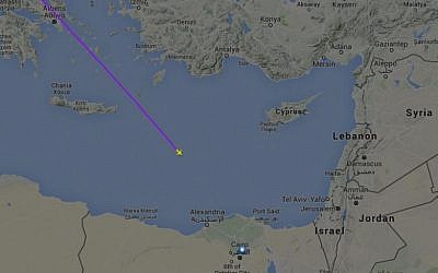 The flight path of EgyptAir flight 804 before it disappeared from radar and crashed into the Mediterranean Sea, on May 19, 2016. (screen capture: Flightradar24.com)