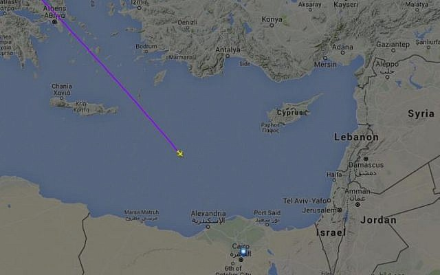 The flight path of MSR804 before it disappeared from radar, likely crashing into the sea, on May 19, 2016. (screen capture: Flightradar24.com)