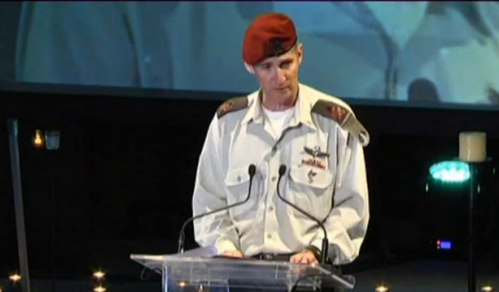 Deputy IDF Chief of Staff Yair Golan speaks at Holocaust Remembrance ceremony on May 5, 2016 (Channel 10 news)