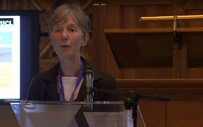 Catherine Hall speaking at the Colonial Legacy Conference at Utrecht University on June 21, 2013. (Screen capture: YouTube)