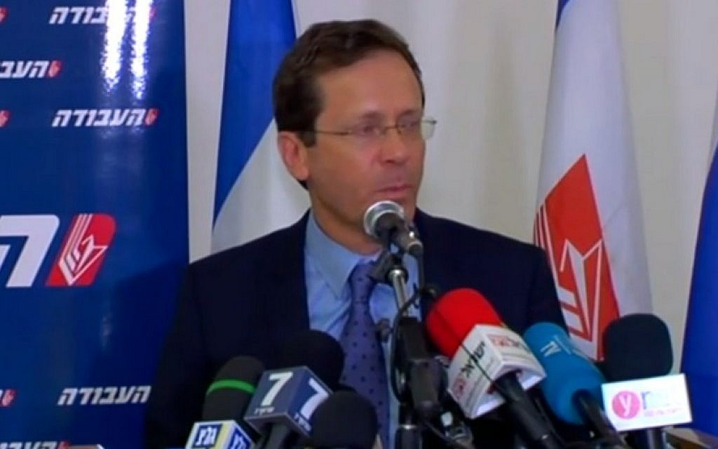Zionist Union leader Isaac Herzog addresses the media about coalition negotiations on May 18, 2016 (screen capture: Channel 2)