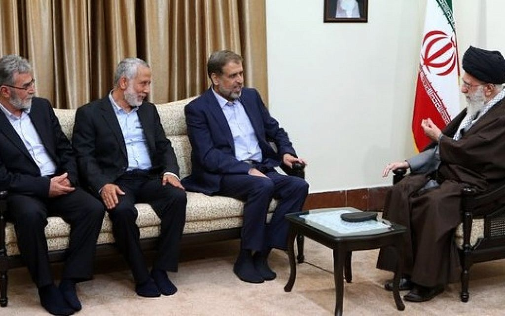 Iranian Supreme Leader Ayatollah Ali Khamenei meets with a delegation of Palestinian Islamic Jihad in Tehran on Sunday, May 1, 2016. (Khamenei's Twitter page)