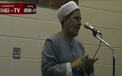 Canadian Imam Sharif Mady giving a sermon in which he says peace accords with Israel are 'useless garbage,' Alberta, Edmonton, Canada, published online, May 6 2016. (YouTube screenshot/MEMRITV)