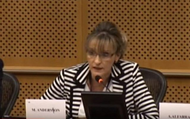 """MEP Martina Anderson from Northern Ireland speaks at a meeting organized by the European Parliamentary Group """"European United Left/Nordic Green Left"""" dealing with health issues in the Palestinian territories.  (Screen capture: YouTube)"""