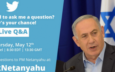 An online invitation asking Twitter users to ask Prime Minister Benjamin Netanyahu questions using the #AskNetanyahu hashtag. (Screenshot from Twitter)