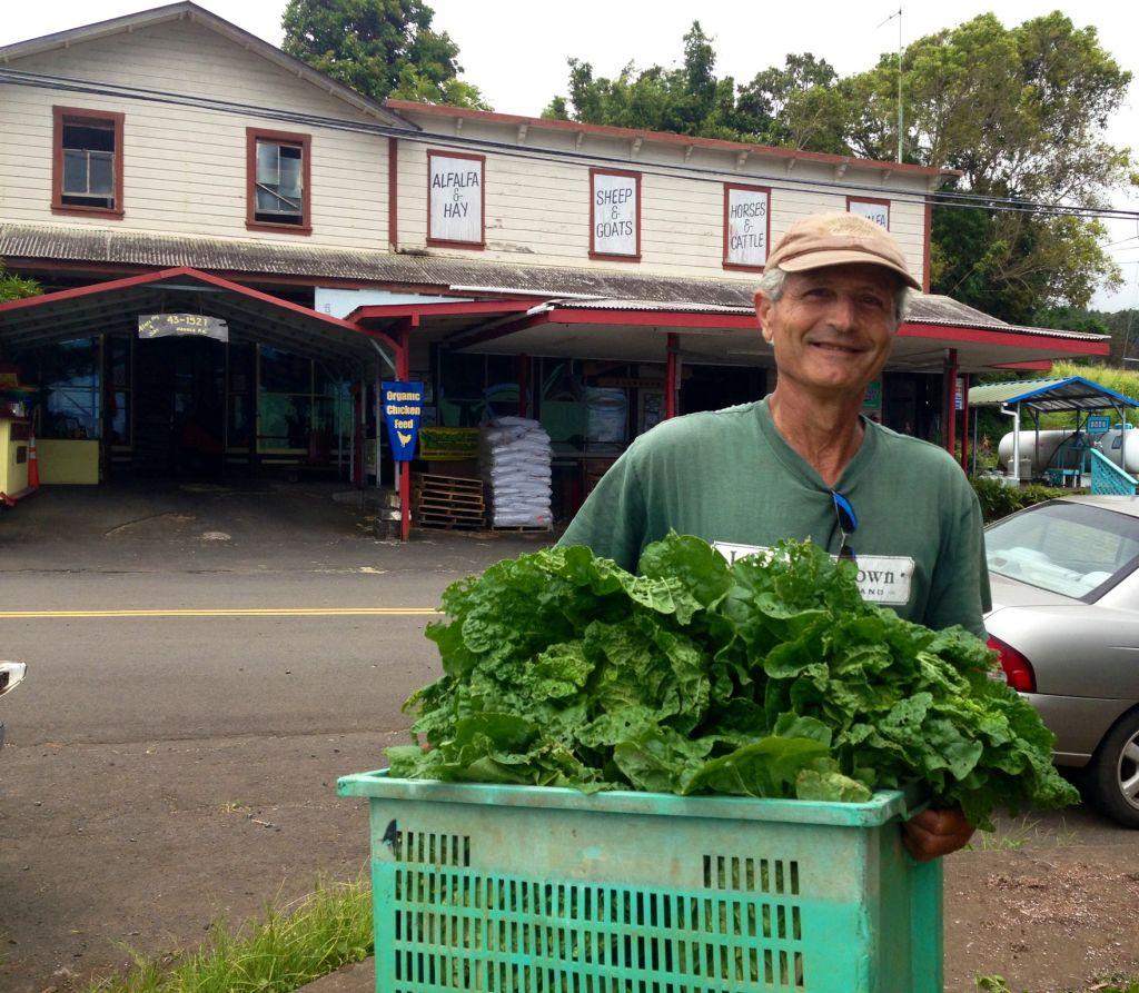 Michael Manor with a basket of greens grown on his organic farm. (Lisa Klug/Times of Israel)