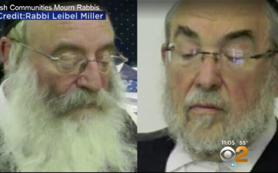 Rabbi Chaim Parnes, left, and Rabbi Issac Rosenberg, who drowned in Miami beach on May 17, 2016 (Screen shot: CBS New York)