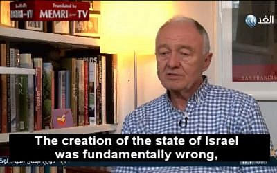 Ken Livingstone denounces Israel in a May 4, 2016 interview (Memri screenshot)