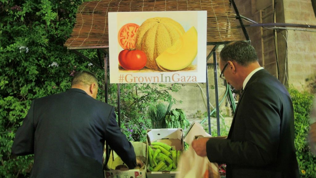"Attendees at the May 9, 2016 event ""Grown in Gaza"" left with goodie bags of Gaza produce. Israel's Ministry of Agriculture had to issue special permits for the produce to enter Jerusalem for the event. (Melanie Lidman/Times of Israel)"