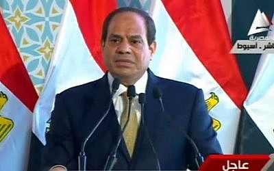 Egyptian President Abdel -Fattah el-Sissi delivers a televised speech on May 17, 2016 (screen capture)