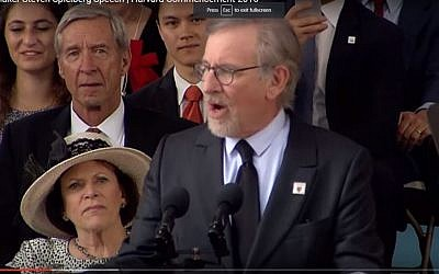 Steven Spielberg delivers the commencement speech at Harvard University, on May 26, 2016. (Screen capture: YouTube)