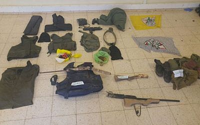 Homemade guns, body armor and other equipment seized by IDF troops in the Palestinian village of al-Dik in an overnight raid on May 25, 2016. (IDF Spokesperson's Unit)