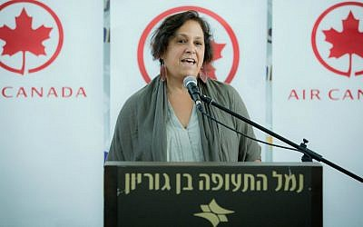 Canadian Ambassador to Israel Vivian Bercovici speaks at an event for Air Canada airline, at the Ben Gurion International Airport, August 5, 2014. (Moshe Shai/Flash90)