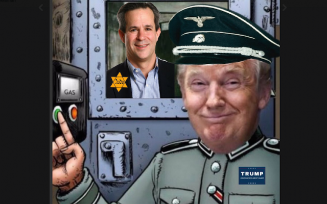 A tweet sent to Jonathan Weisman depicts the journalist as a concentration camp inmate and Donald Trump as a Nazi guard. (Screenshot from Twitter via JTA)