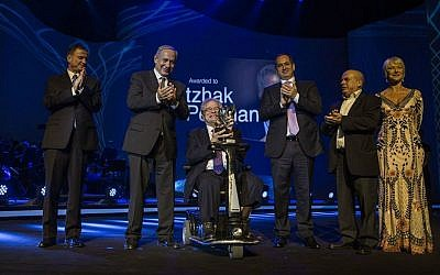 From left to right: Knesset Speaker Yuli Edelstein, Prime Minister Benjamin Netanyahu, Itzhak Perlman, Genesis Prize cofounder Stan Polovets, Natan Sharansky and Dame Helen Mirren, at the Genesis Prize ceremony in Jerusalem, June 23, 2016. (Courtesy Genesis Prize)
