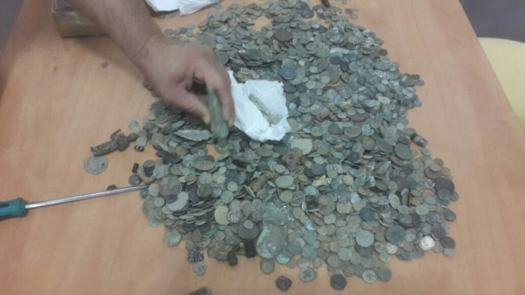 Antiquities found in a Norwegian diplomatic vehicle on May 31, 2016 at the Allenby Crossing. (Israel Tax Authority)