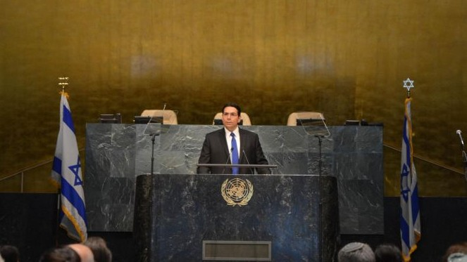 Israeli ambassador to the UN, Danny Danon, speaks at the anti-BDS conference at the General Assembly on May 31, 2016. (Shahar Azran)