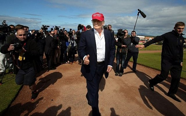 Donald Trump at the Women's British Open Golf Championships in Turnberry, Scotland,  July 30, 2015 (AFP PHOTO/PAUL FAITH)