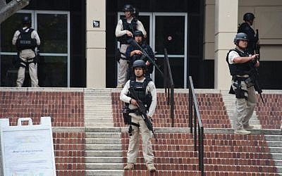 Members of security are seen on June 1, 2016 at the University of California's Los Angeles campus where two people were confirmed dead on Wednesday following a shooting. (AFP/Robyn Beck)