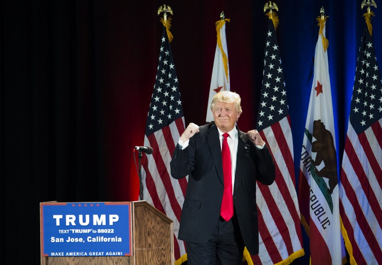 Republican presidential candidate Donald Trump gestures during a rally at the San Jose Convention Center in San Jose, California, June 2, 2016. (AFP/Josh Edelson)