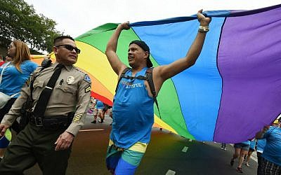 Sheriff's deputies provide security during the 2016 Gay Pride Parade on June 12, 2016 in Los Angeles, California. (Mark Ralston/AFP)