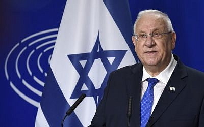 Israeli President Reuven Rivlin speaks at a press conference after a session of the EU Parliament in Brussels on June 22, 2016. (AFP Photo/John Thys)