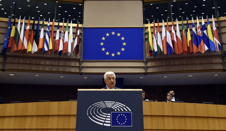 President of the Palestinian Authority Mahmoud Abbas delivers a speech at the European Union Parliament in Brussels on June 23, 2016. (AFP / JOHN THYS)