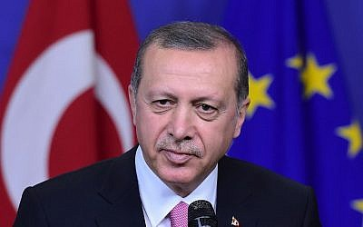 Turkey's President Recep Tayyip Erdogan at the European Commission in Brussels, on October 5, 2015. (AFP//Emmanuel Dunand)