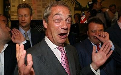 Leader of the United Kingdom Independence Party (UKIP), Nigel Farage reacts at the Leave.EU referendum party at Millbank Tower in central London on June 24, 2016, as results showed the UK would leave the European Union (AFP PHOTO / GEOFF CADDICK)