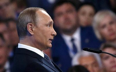 Russian President Vladimir Putin delivers a speech during the 15th Convention of the ruling party United Russia in Moscow on June 27, 2016. (Maxim Shipenkov/Pool/AFP)