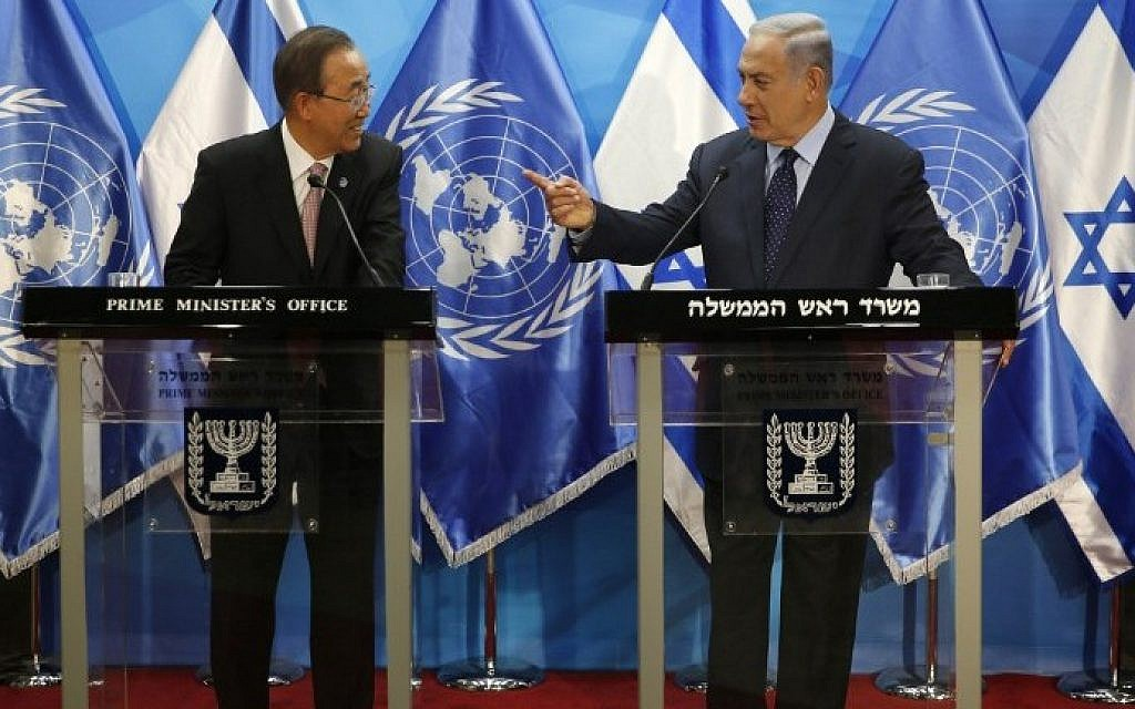 Israeli Prime Minister Benjamin Netanyahu, right, stands next to UN Secretary General Ban Ki-moon as they deliver statements in Jerusalem on June 28, 2016. (AFP/Pool/Ronen Zvulun)