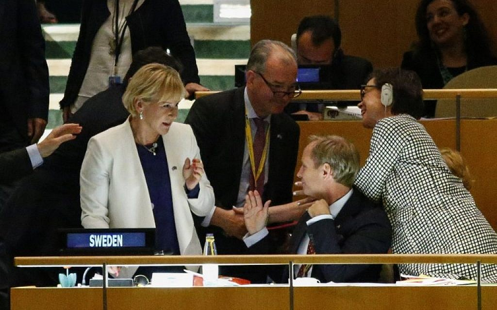 Swedish foreign minister Margot Wallstrsm, left, reacts after Sweden won a seat during the Election of five non-permanent members of the Security Council at the general assembly hall at the United Nations in New York on June 28, 2016. (AFP/KENA BETANCUR)