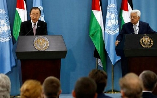 United Nations Secretary General Ban Ki-moon (L) and Palestinian Authority President Mahmoud Abbas give a joint press conference after a meeting on June 28, 2016 in the West Bank city of Ramallah. (ABBAS MOMANI/AFP)