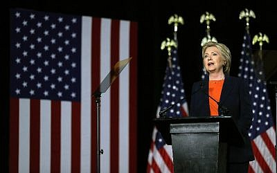 Democratic presidential candidate and former secretary of state Hillary Clinton delivers a national security address on June 2, 2016 in San Diego, California. (Justin Sullivan/Getty Images/AFP)