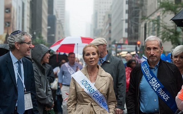 Kathie Lee Gifford marches as Honorary Marshal in the Celebrate Israel Parade in the rain on June 5, 2016 in New York City (Stephanie Keith/Getty Images/AFP)
