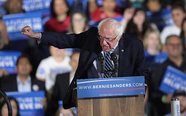 Democratic presidential candidate Senator Bernie Sanders speaks to supporters at an election-night rally in Santa Monica, California, June 7, 2016. (Scott Olson/Getty Images/AFP)