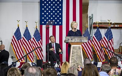 Democratic presidential candidate Hillary Clinton speaks to supporters at the Cleveland Industrial Innovation Center on June 13, 2016 in Cleveland, Ohio. (Angelo Merendino/Getty Images/AFP)