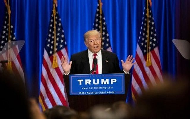 Presumptive Republican presidential candidate Donald Trump speaks during an event at Trump SoHo Hotel, New York City, June 22, 2016. (Drew Angerer/Getty Images/AFP)