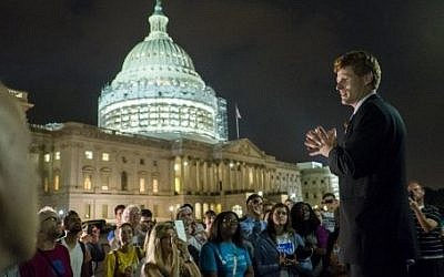 Rep. Joe Kennedy III (D-MA) speaks to supporters of House Democrats taking part in a sit-in on the House Chamber outside the U.S. Capitol on June 23, 2016. (Pete Marovich/Getty Images/AFP)