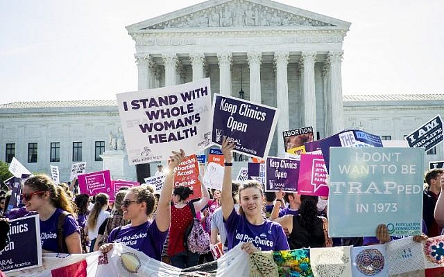 Pro-choice and pro-life activists demonstrate on the steps of the United States Supreme Court in Washington, DC, on June 27, 2016. (Pete Marovich/Getty Images/AFP)