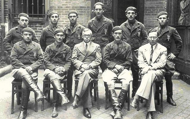 Milton Viorst points to Ze'ev Jabotinsky (seated, center, pictured here with members of his right-wing Revisionist Zionist movement Betar) as the forebearer of today's hard-line Zionism. (Wikimedia commons)