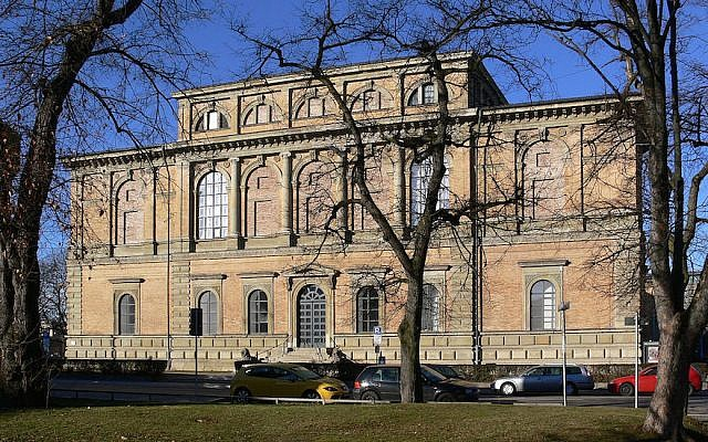 The facade of the Alte Pinakothek art museum in Munich, one of the Bavarian state galleries (Wikimedia Commons via JTA)